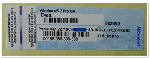 Windows product key sticker