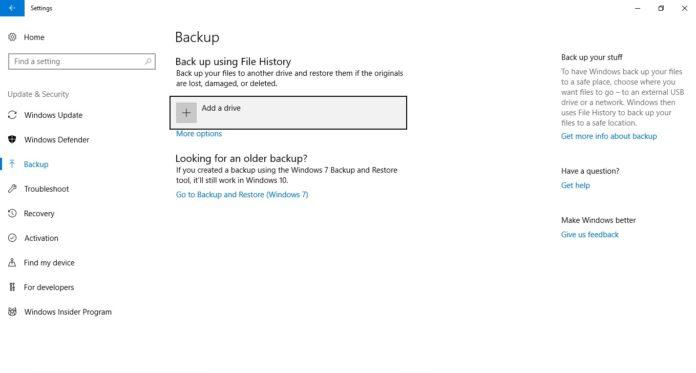Back up using File History
