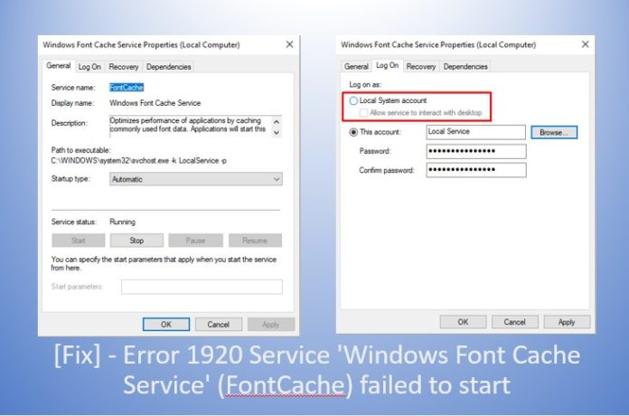 Fix] - Error 1920 Service 'Windows Font Cache Service