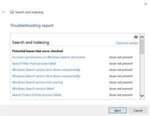 Reset and Rebuild Windows search index in Windows 10