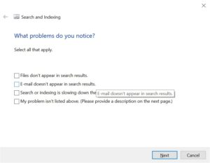 search not working in outlook